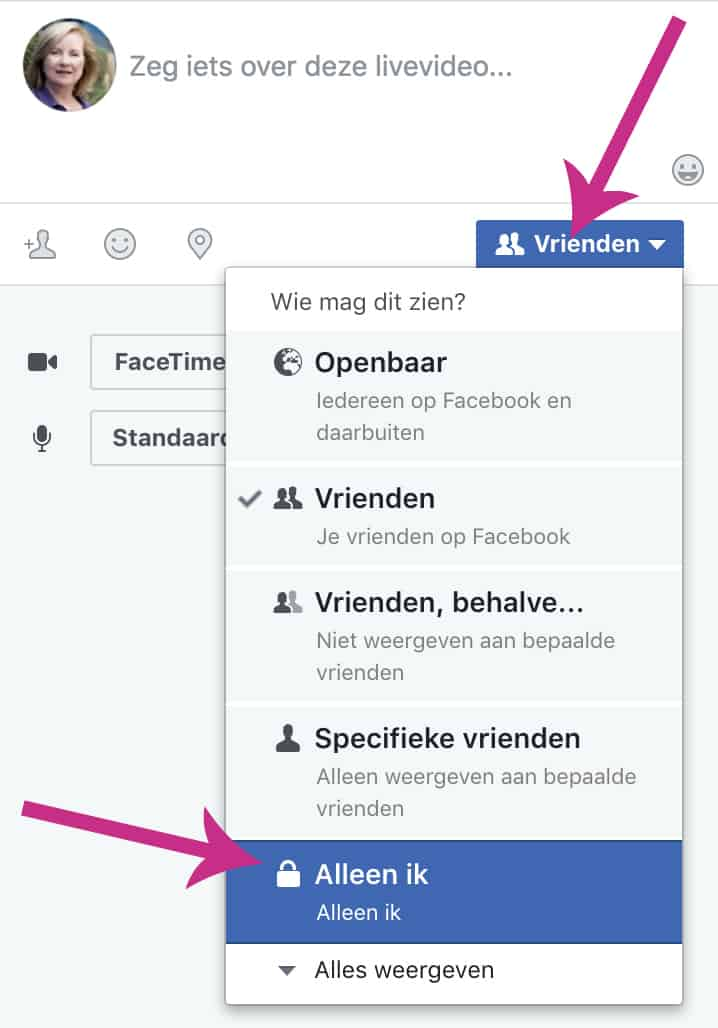 Facebook live oefenen op je profiel