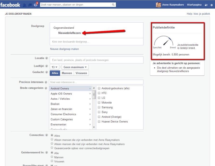 Facebook advertenties nieuwsbrief