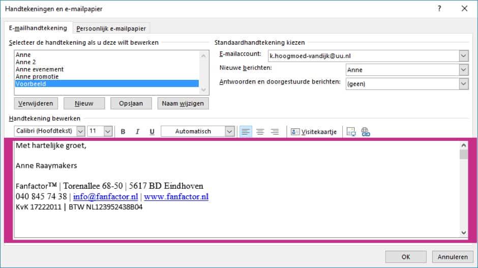 Microsoft Outlook handtekening