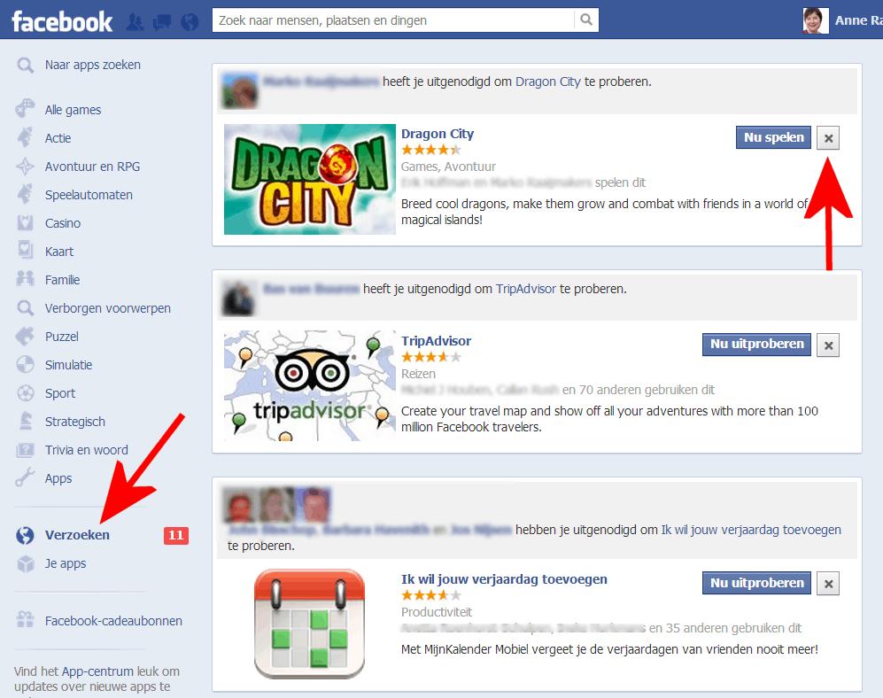 apps en spelletjes negeren of blokkeren op Facebook