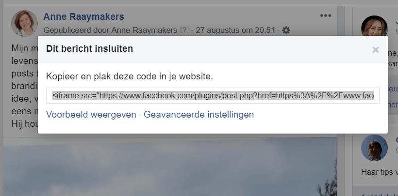 Facebookbericht-insluiten-code