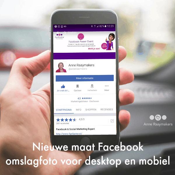 Nieuwe maat Facebook omslagfoto voor desktop en mobiel