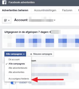 Facebook advertentie accountgeschiedenis