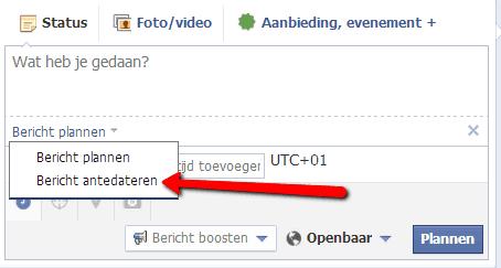 berichten antidateren op Facebook