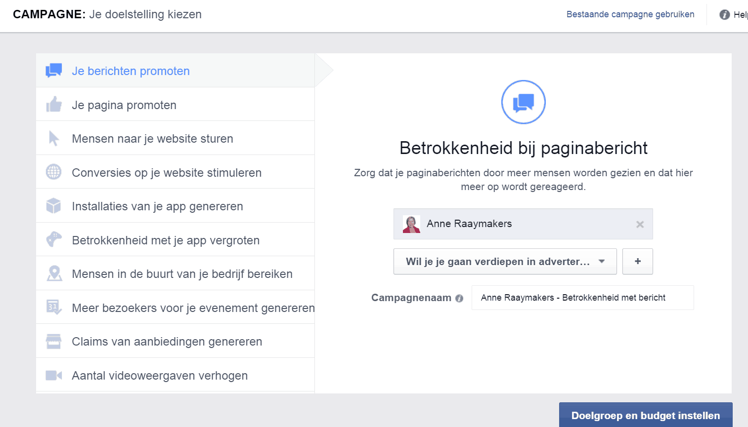 Facebook advertentie campagne