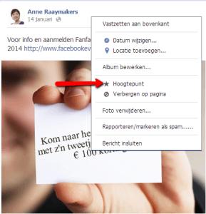 Hoogtepunt Facebook pagina