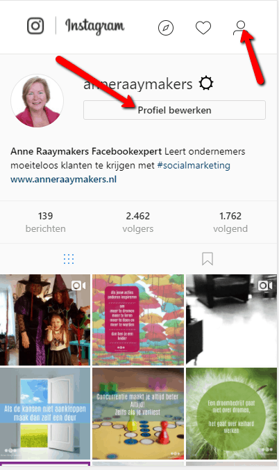 Instagram profiel bewerken