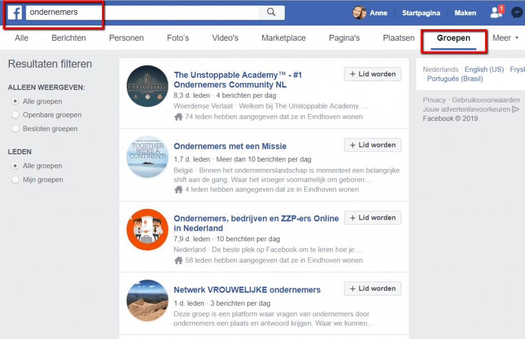 Ondernemers groep op Facebook
