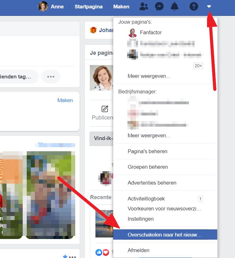 Overschakelen naar het nieuwe Facebook
