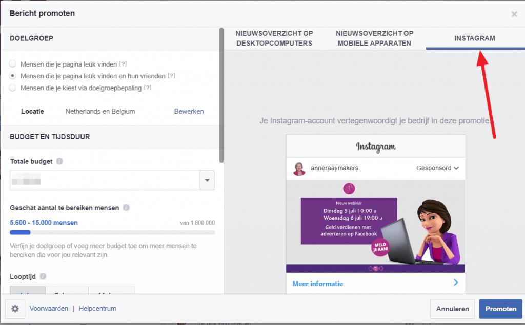 Facebookbericht promoten op Instgram