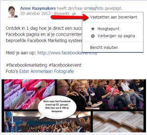 bericht vastzetten Facebook