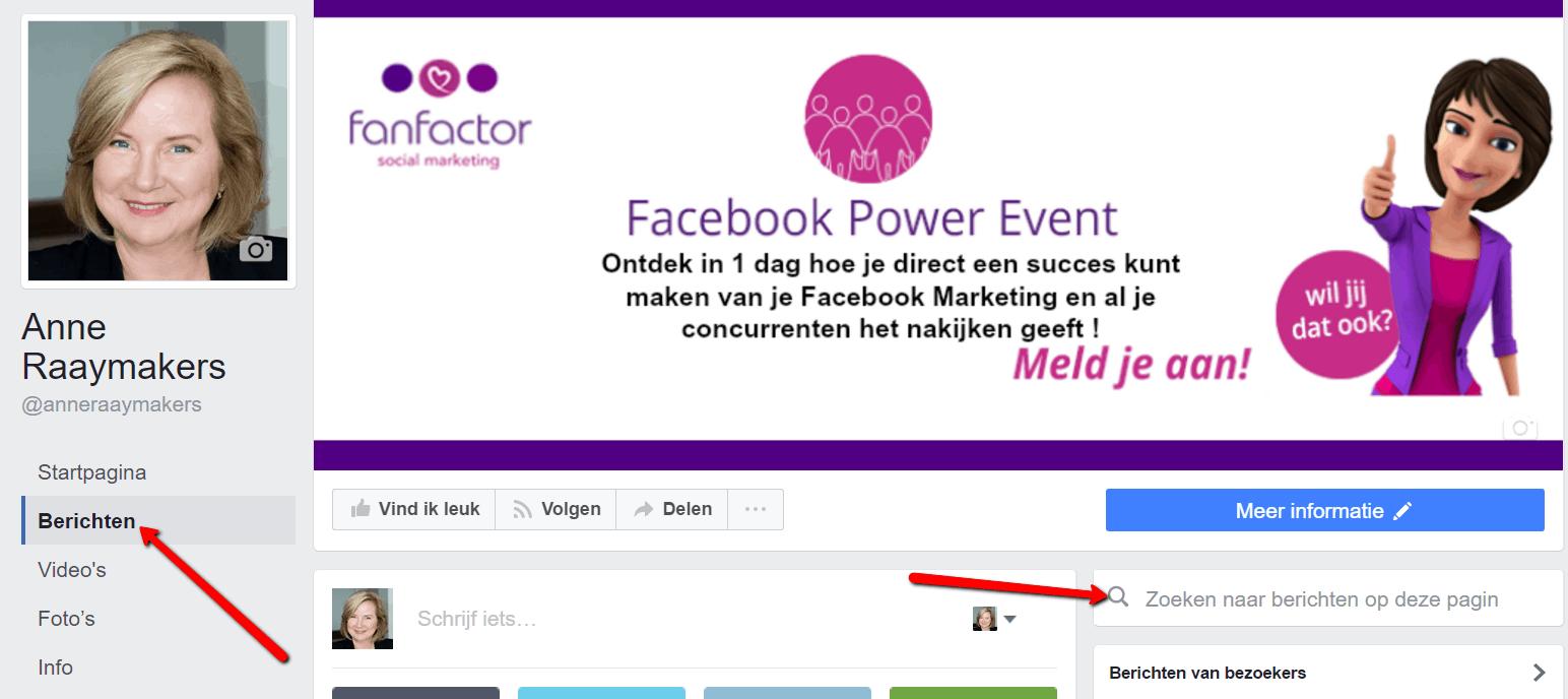 zoeken op Facebookpagina